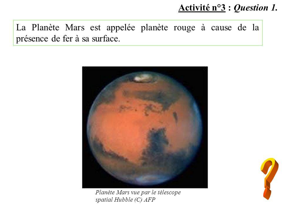 Activité n°3 : Question 1. La Planète Mars est appelée planète rouge à cause de la présence de fer à sa surface. Planète Mars vue par le télescope spa