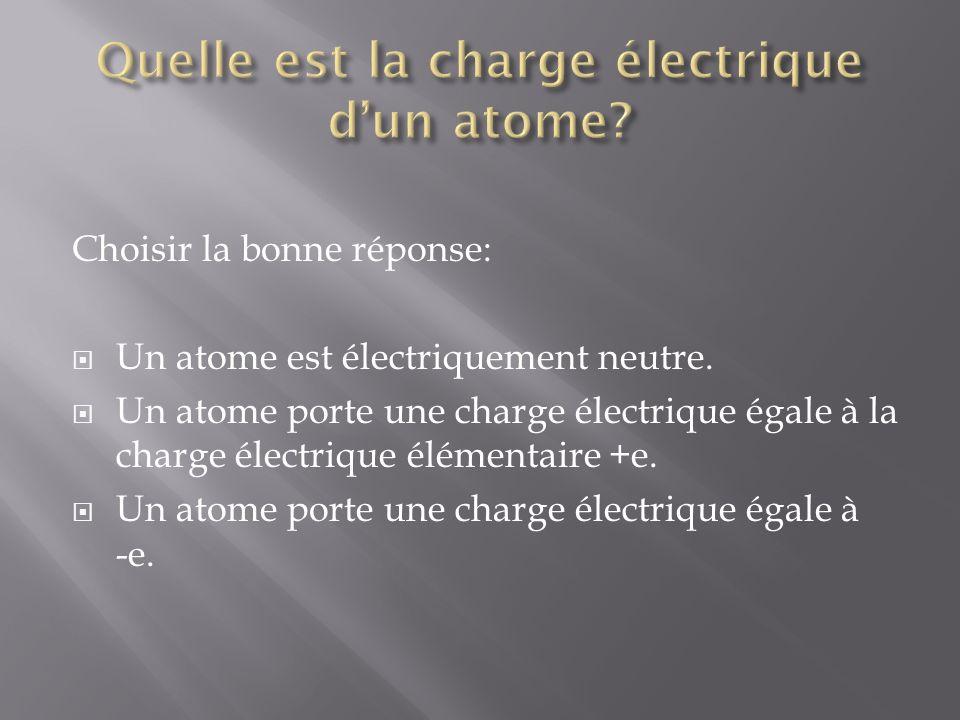 Choisir la bonne réponse: Un atome est électriquement neutre.
