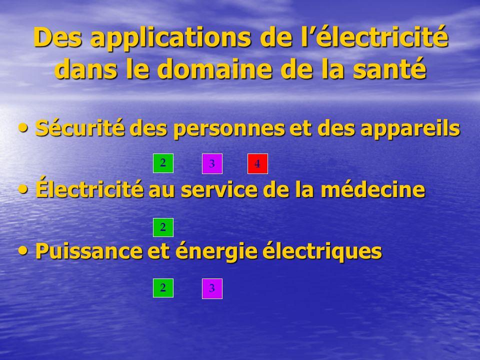 Des applications de lélectricité dans le domaine de la santé Sécurité des personnes et des appareils Sécurité des personnes et des appareils Électrici