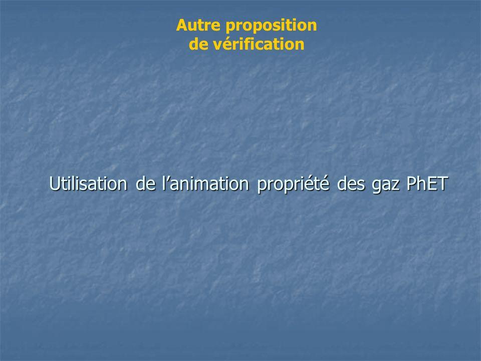 Utilisation de lanimation propriété des gaz PhET Autre proposition de vérification