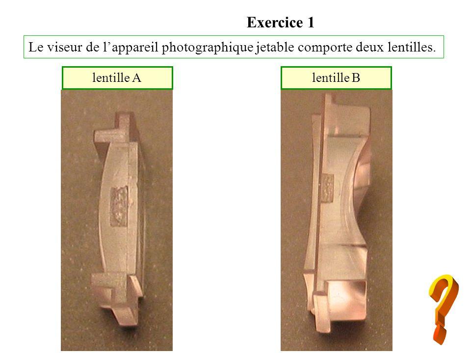 Exercice 1 Le viseur de lappareil photographique jetable comporte deux lentilles. lentille Alentille B