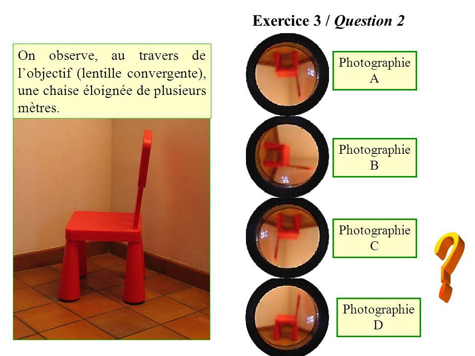 Photographie A Photographie D Photographie B Photographie C Exercice 3 / Question 2 On observe, au travers de lobjectif (lentille convergente), une ch