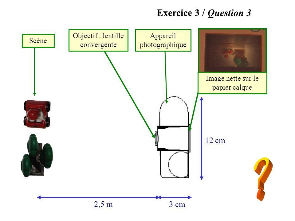 2,5 m3 cm 12 cm Objectif : lentille convergente Image nette sur le papier calque Appareil photographique Scène Exercice 3 / Question 3