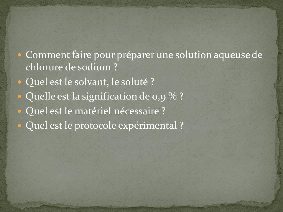 Comment faire pour préparer une solution aqueuse de chlorure de sodium ? Quel est le solvant, le soluté ? Quelle est la signification de 0,9 % ? Quel