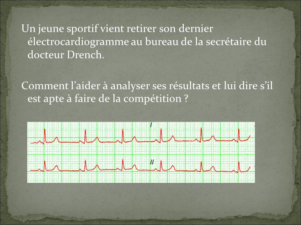 Un jeune sportif vient retirer son dernier électrocardiogramme au bureau de la secrétaire du docteur Drench. Comment laider à analyser ses résultats e