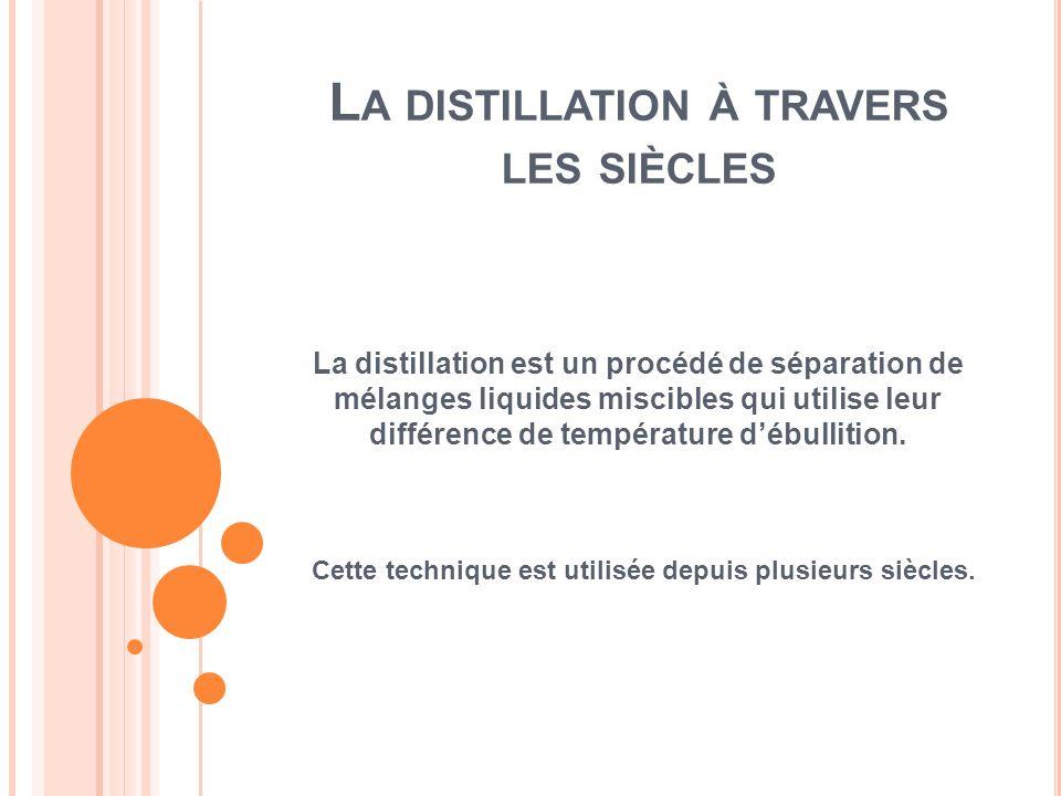 L A DISTILLATION À TRAVERS LES SIÈCLES La distillation est un procédé de séparation de mélanges liquides miscibles qui utilise leur différence de temp