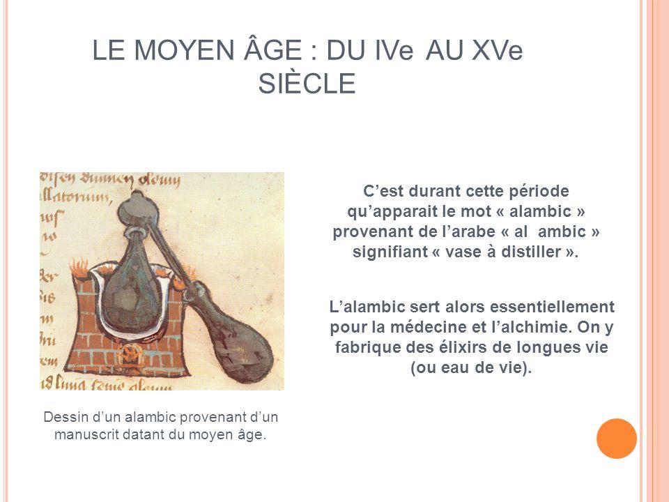 LE MOYEN ÂGE : DU IVe AU XVe SIÈCLE Cest durant cette période quapparait le mot « alambic » provenant de larabe « al ambic » signifiant « vase à disti