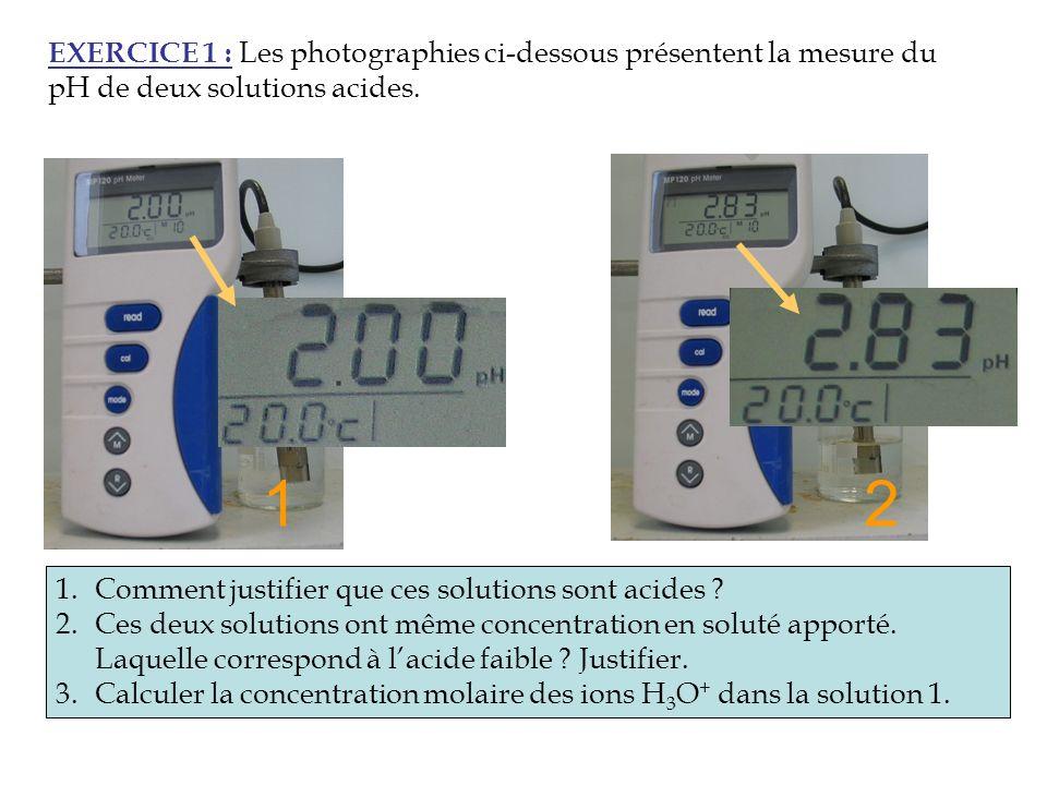 EXERCICE 1 : Les photographies ci-dessous présentent la mesure du pH de deux solutions acides. Acide fort 1.Comment justifier que ces solutions sont a