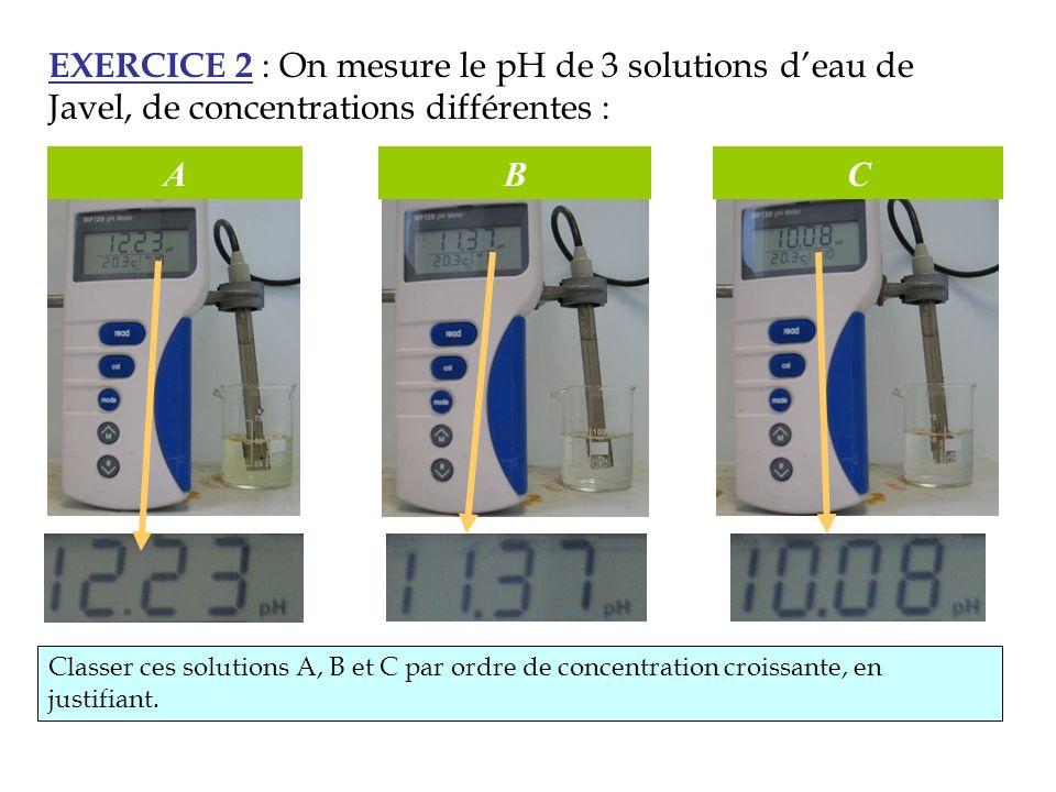 EXERCICE 2 : On mesure le pH de 3 solutions deau de Javel, de concentrations différentes : ABC Classer ces solutions A, B et C par ordre de concentrat