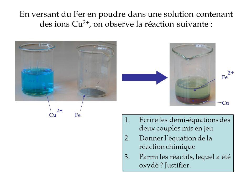 En versant du Fer en poudre dans une solution contenant des ions Cu 2+, on observe la réaction suivante : 1.Ecrire les demi-équations des deux couples
