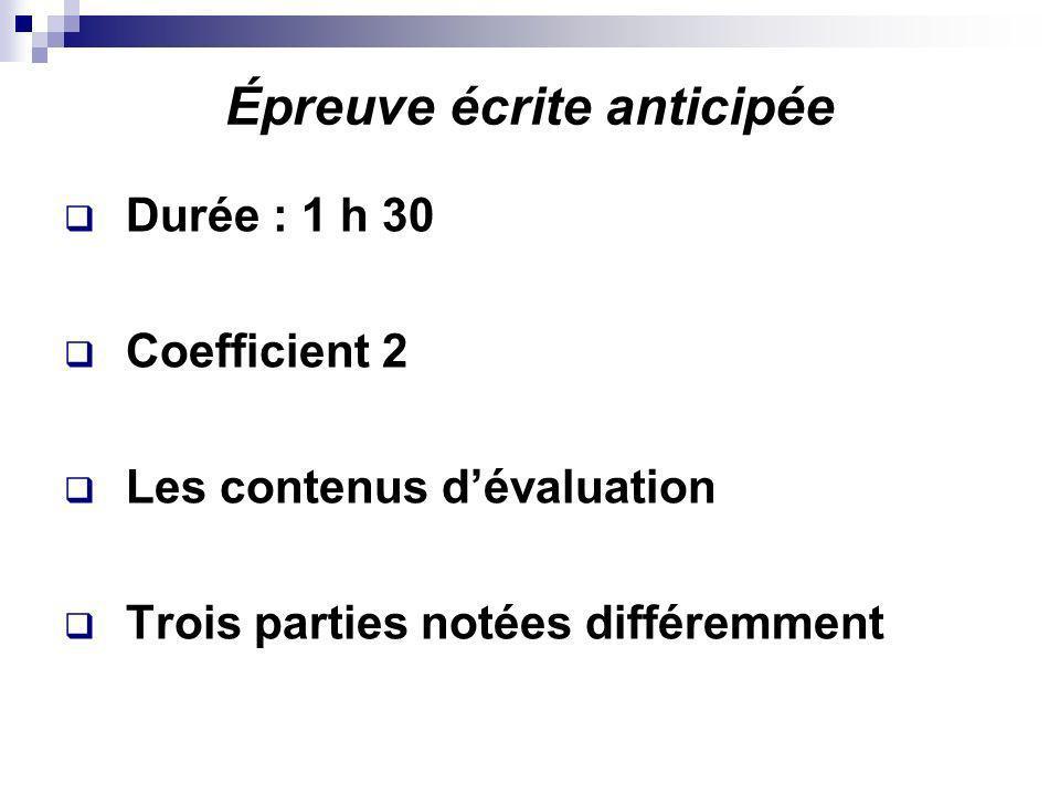 Épreuve écrite anticipée Durée : 1 h 30 Coefficient 2 Les contenus dévaluation Trois parties notées différemment