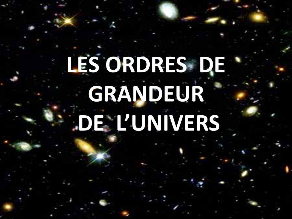 LES ORDRES DE GRANDEUR DE LUNIVERS