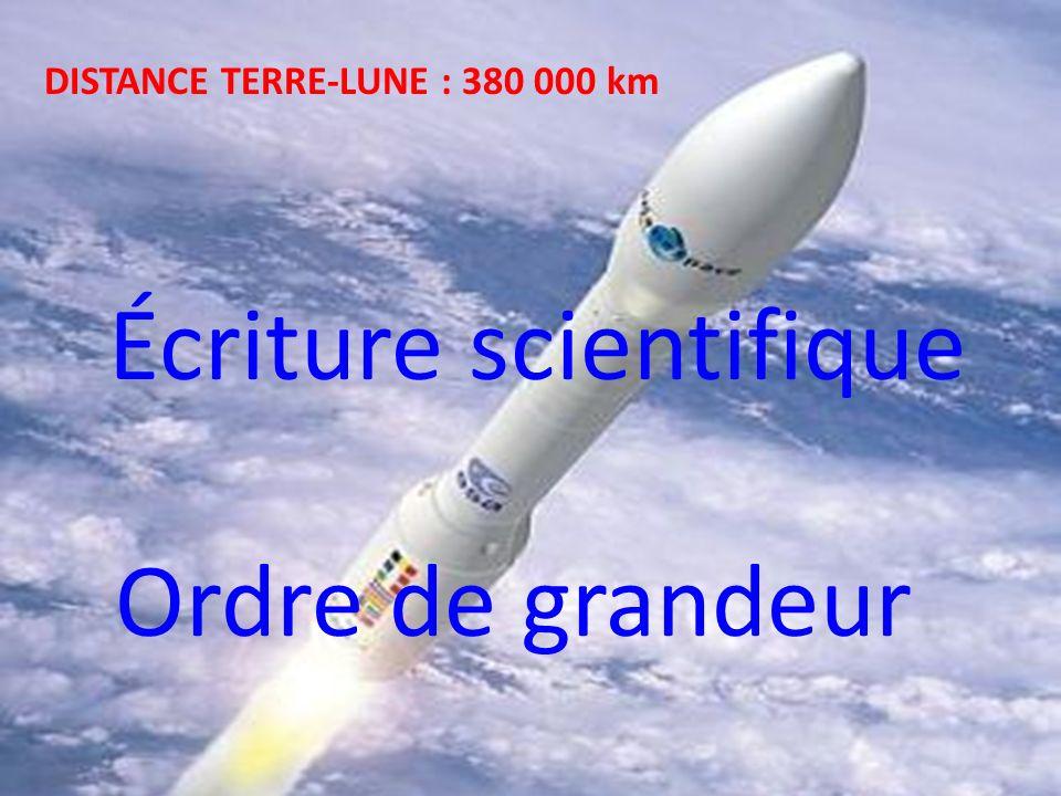 DISTANCE TERRE-LUNE : 380 000 km Écriture scientifique Ordre de grandeur