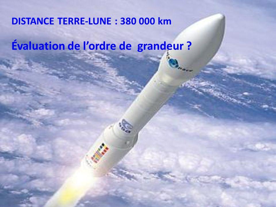 DISTANCE TERRE-LUNE : 380 000 km 10 5 km