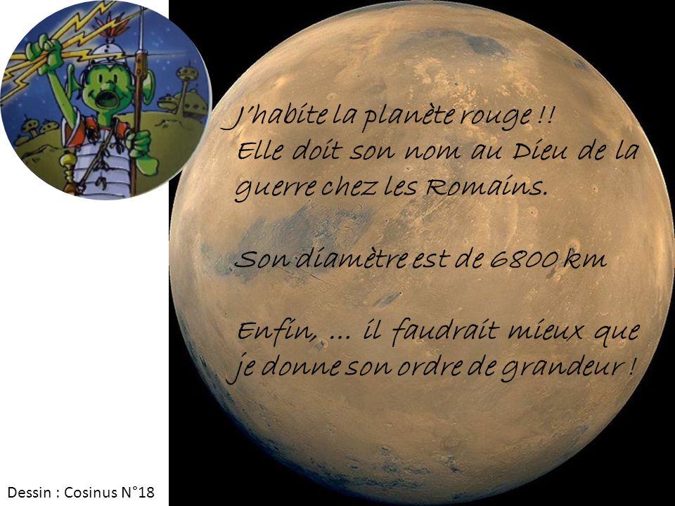 Jhabite la planète rouge !! Elle doit son nom au Dieu de la guerre chez les Romains. Son diamètre est de 6800 km Enfin, … il faudrait mieux que je don