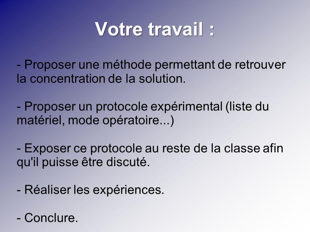 Votre travail : - Proposer une méthode permettant de retrouver la concentration de la solution. - Proposer un protocole expérimental (liste du matérie