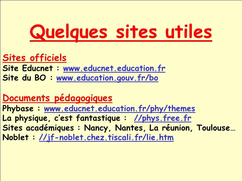 Quelques sites utiles Sites officiels Site Educnet : www.educnet.education.frwww.educnet.education.fr Site du BO : www.education.gouv.fr/bowww.educati