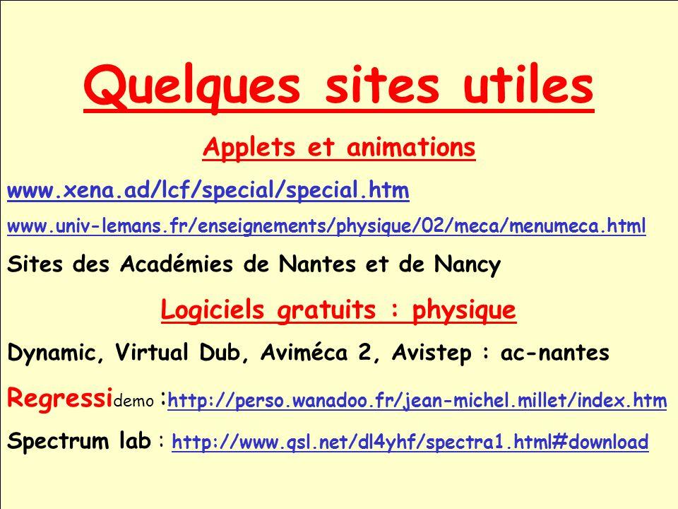 Quelques sites utiles Applets et animations www.xena.ad/lcf/special/special.htm www.univ-lemans.fr/enseignements/physique/02/meca/menumeca.html Sites
