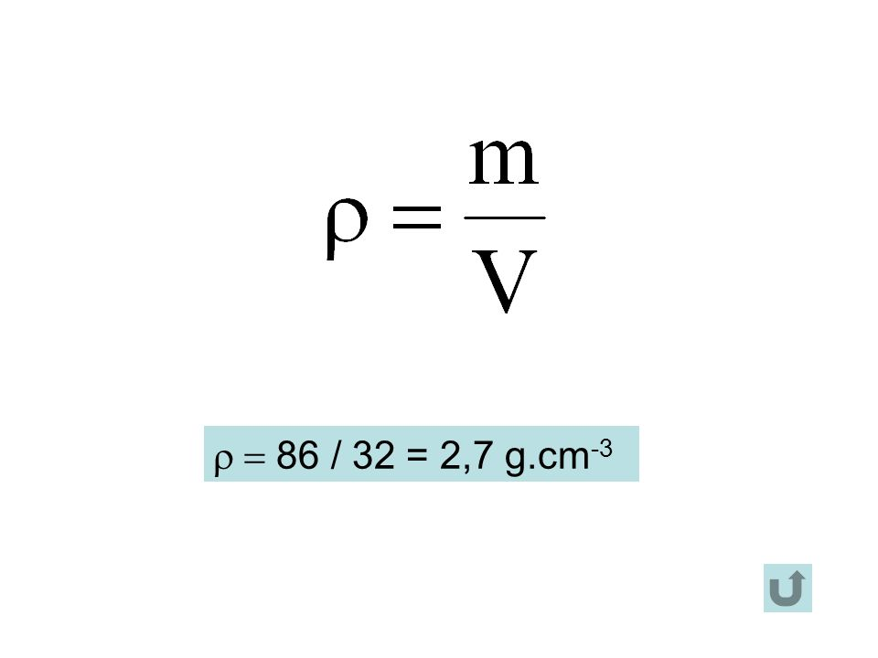 86 / 32 = 2,7 g.cm -3