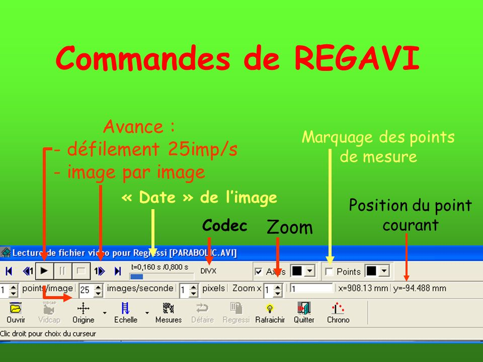 Avance : - défilement 25imp/s - image par image « Date » de limage Codec Zoom Marquage des points de mesure Position du point courant Commandes de REG