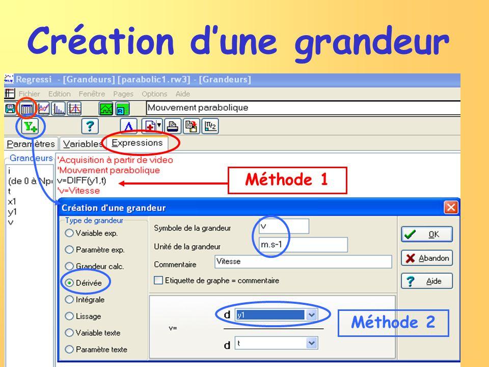 Méthode 1 Méthode 2 Création dune grandeur