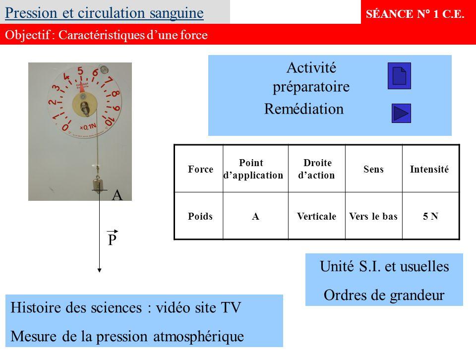 SÉANCE N° 1 C.E. Pression et circulation sanguine Objectif : Caractéristiques dune force Force Point dapplication Droite daction Sens Intensité PoidsA