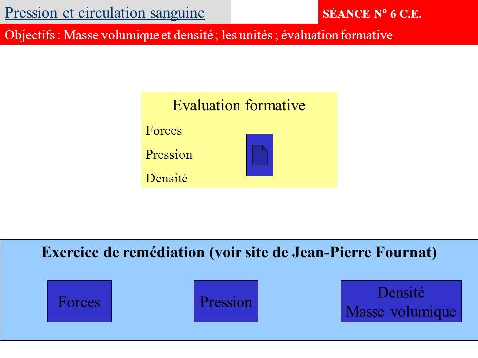 Exercice de remédiation (voir site de Jean-Pierre Fournat) SÉANCE N° 6 C.E. Pression et circulation sanguine Objectifs : Masse volumique et densité ;