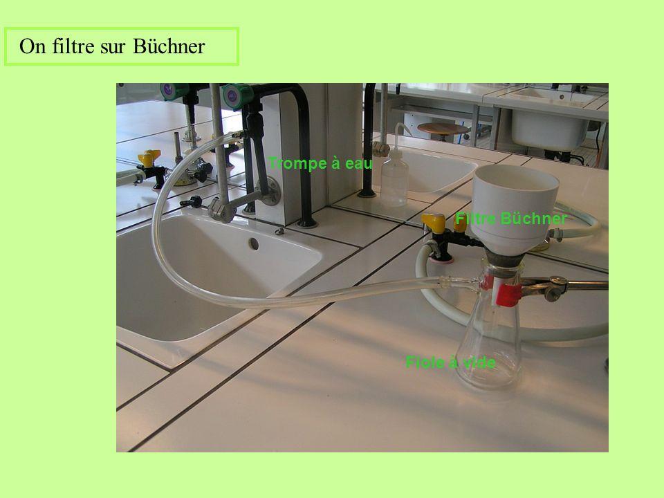 On filtre sur Büchner Trompe à eau Filtre Büchner Fiole à vide