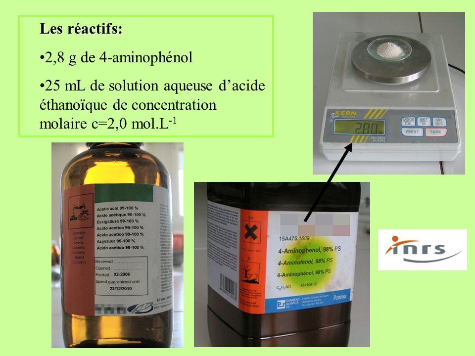 Les réactifs: 2,8 g de 4-aminophénol 25 mL de solution aqueuse dacide éthanoïque de concentration molaire c=2,0 mol.L -1