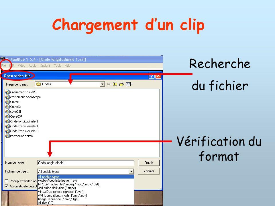 Chargement dun clip Recherche du fichier Vérification du format