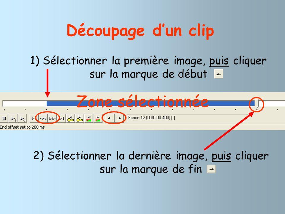 Découpage dun clip 1) Sélectionner la première image, puis cliquer sur la marque de début 2) Sélectionner la dernière image, puis cliquer sur la marqu