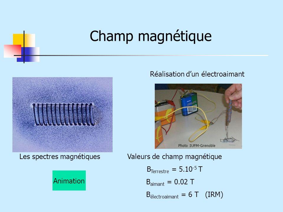 Champ magnétique Les spectres magnétiques Valeurs de champ magnétique B Terrestre = 5.10 -5 T B aimant = 0.02 T B électroaimant = 6 T (IRM) Réalisatio