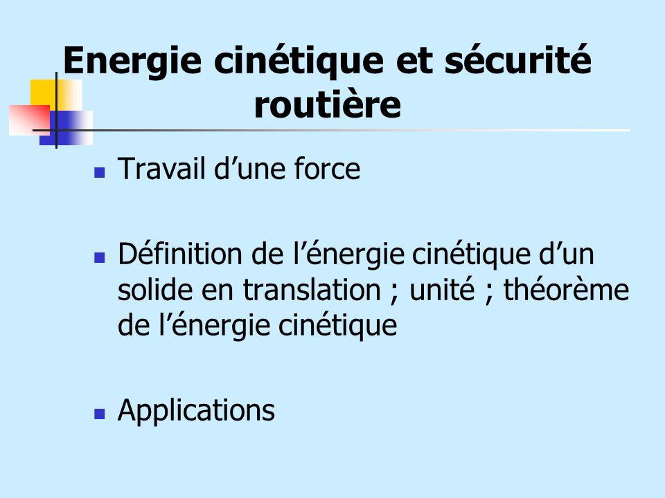 Travail dune force Définition de lénergie cinétique dun solide en translation ; unité ; théorème de lénergie cinétique Applications Energie cinétique