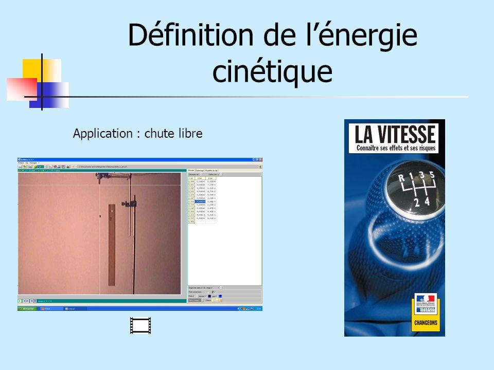 Définition de lénergie cinétique Application : chute libre