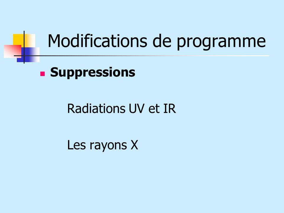 Modifications de programme Suppressions Radiations UV et IR Les rayons X