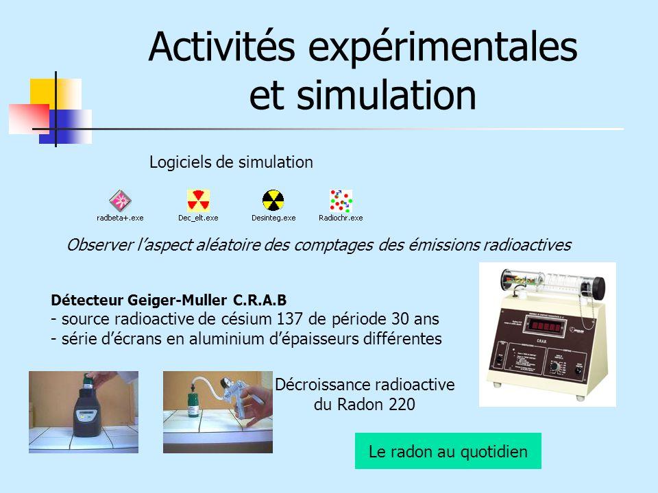 Activités expérimentales et simulation Détecteur Geiger-Muller C.R.A.B - source radioactive de césium 137 de période 30 ans - série décrans en alumini