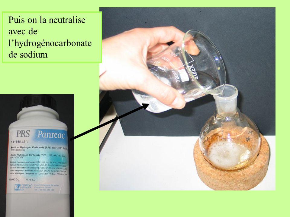 Puis on la neutralise avec de lhydrogénocarbonate de sodium
