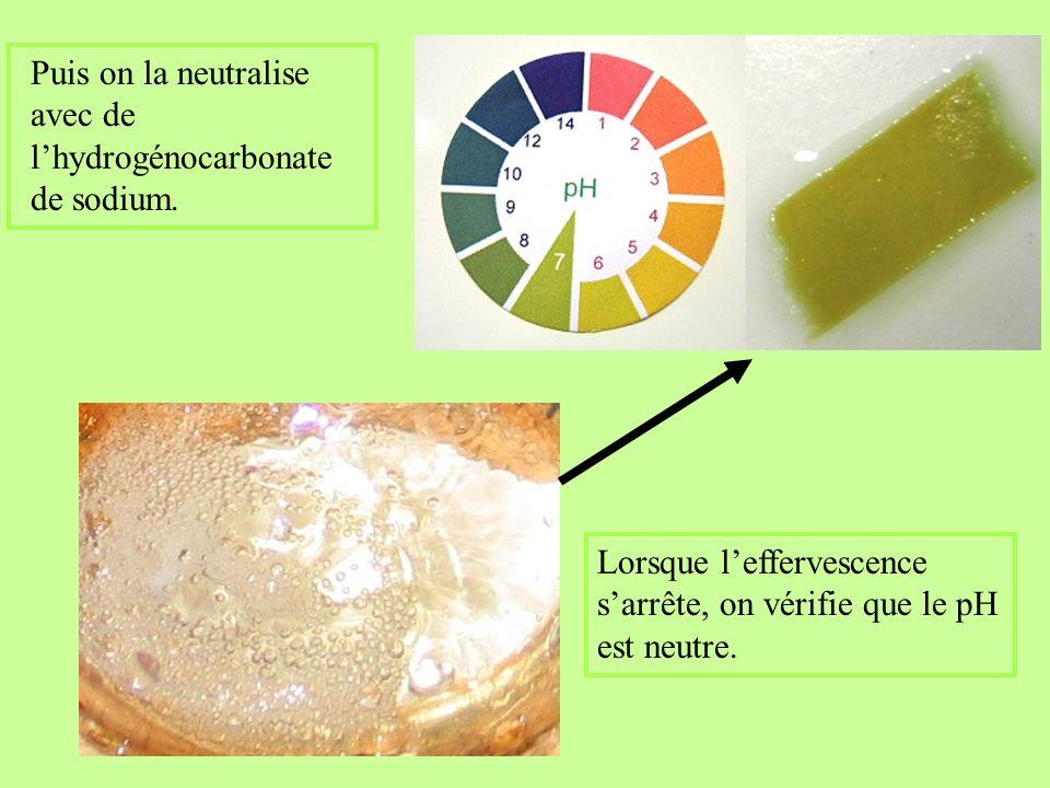 Lorsque leffervescence sarrête, on vérifie que le pH est neutre.