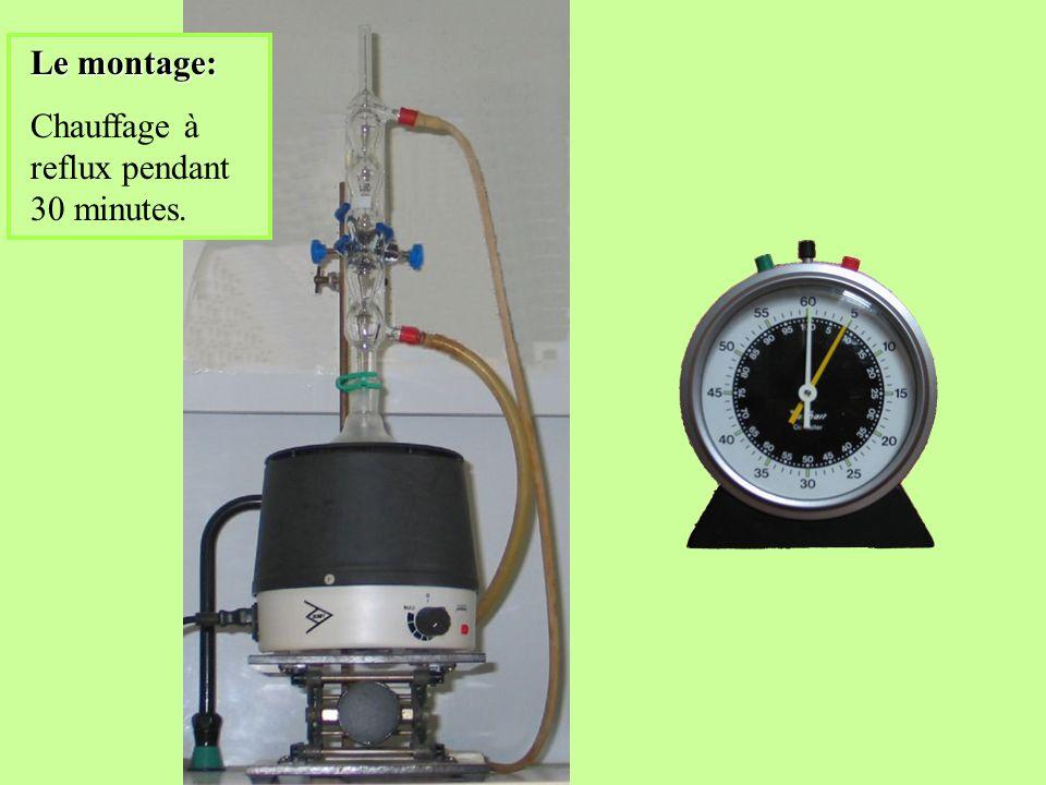 Le montage: Chauffage à reflux pendant 30 minutes.