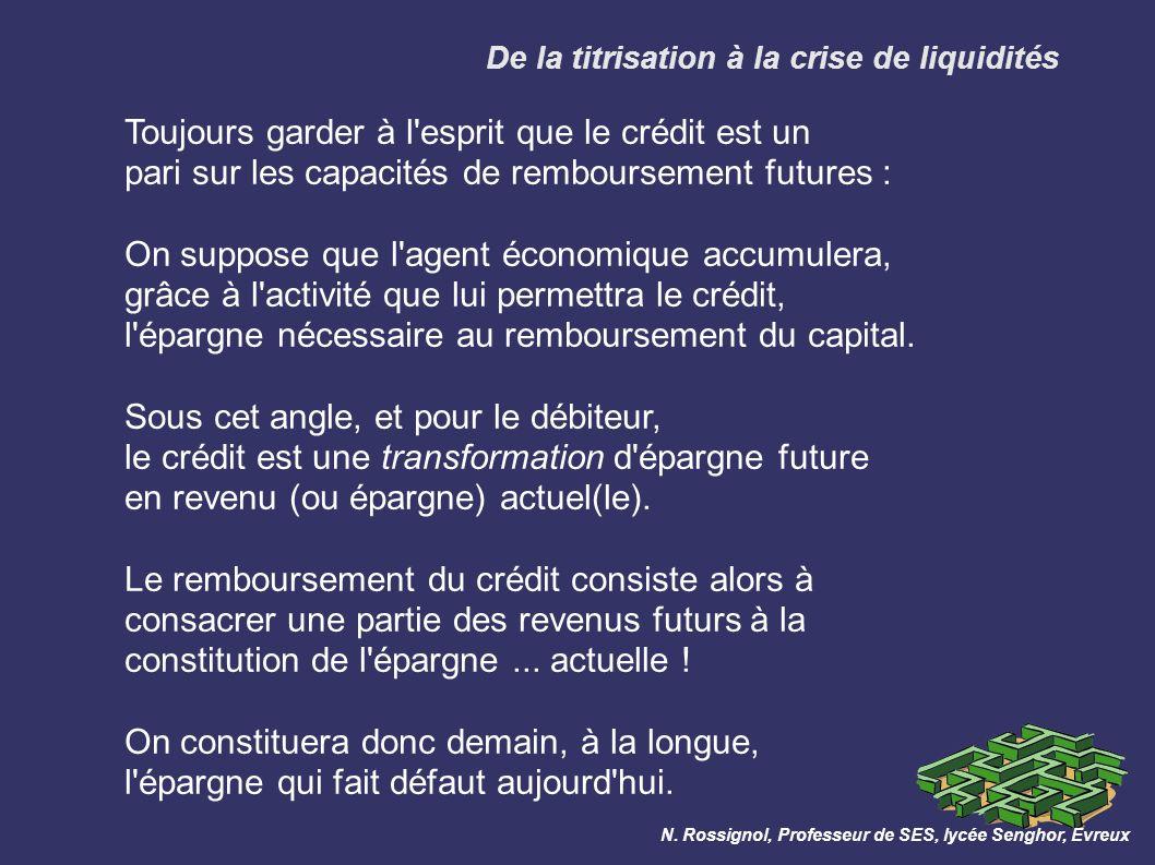 De la titrisation à la crise de liquidités N.