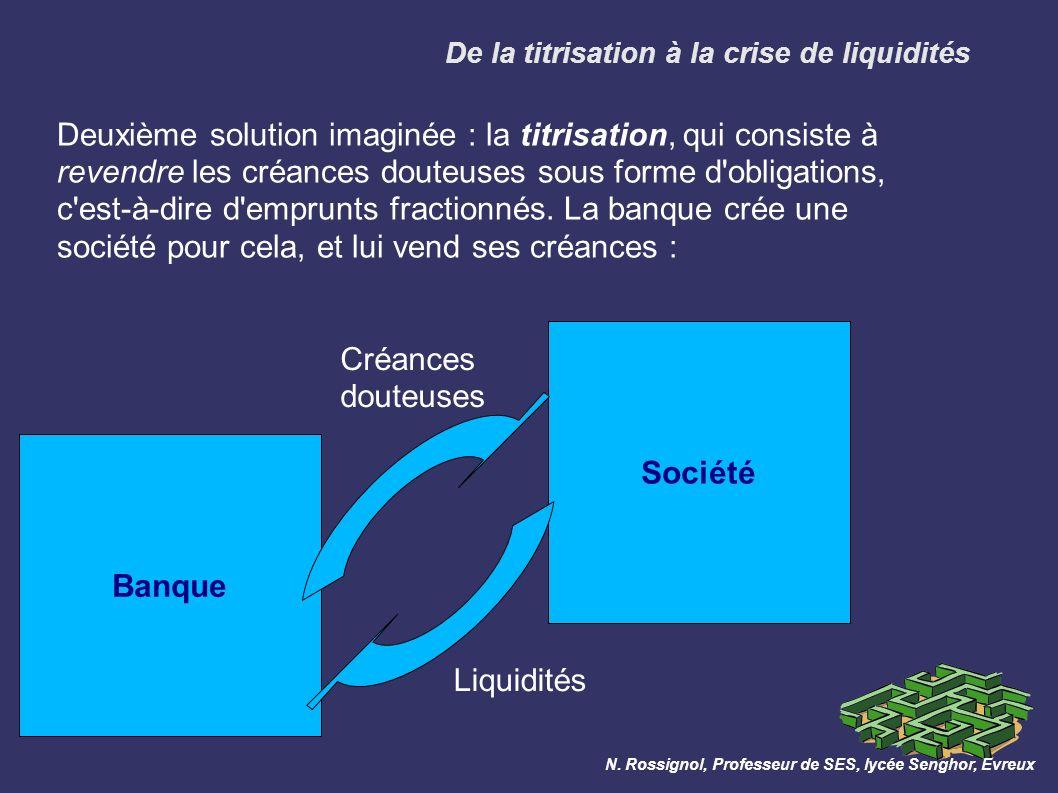 Banque Deuxième solution imaginée : la titrisation, qui consiste à revendre les créances douteuses sous forme d obligations, c est-à-dire d emprunts fractionnés.