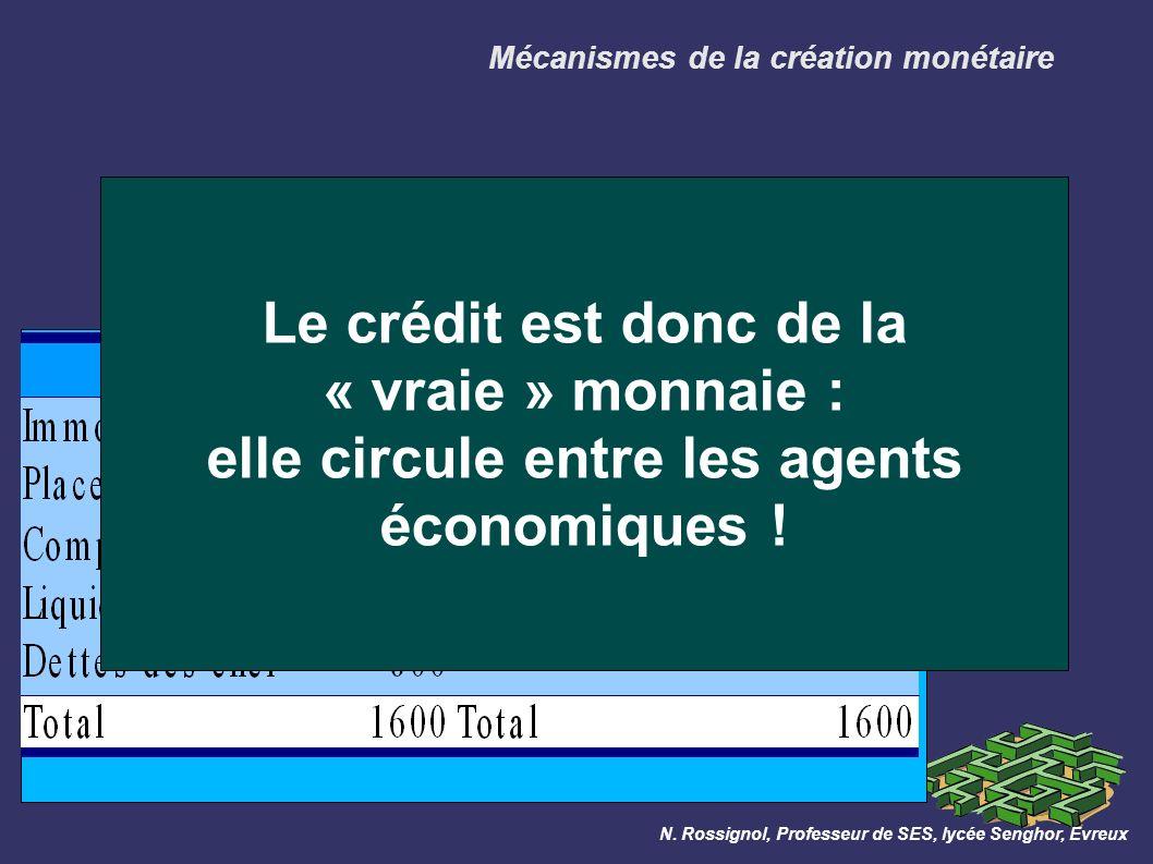 Mécanismes de la création monétaire Le client 2 paye le client 1 avec un chèque de 400 : la monnaie circule par simple jeu d écriture.