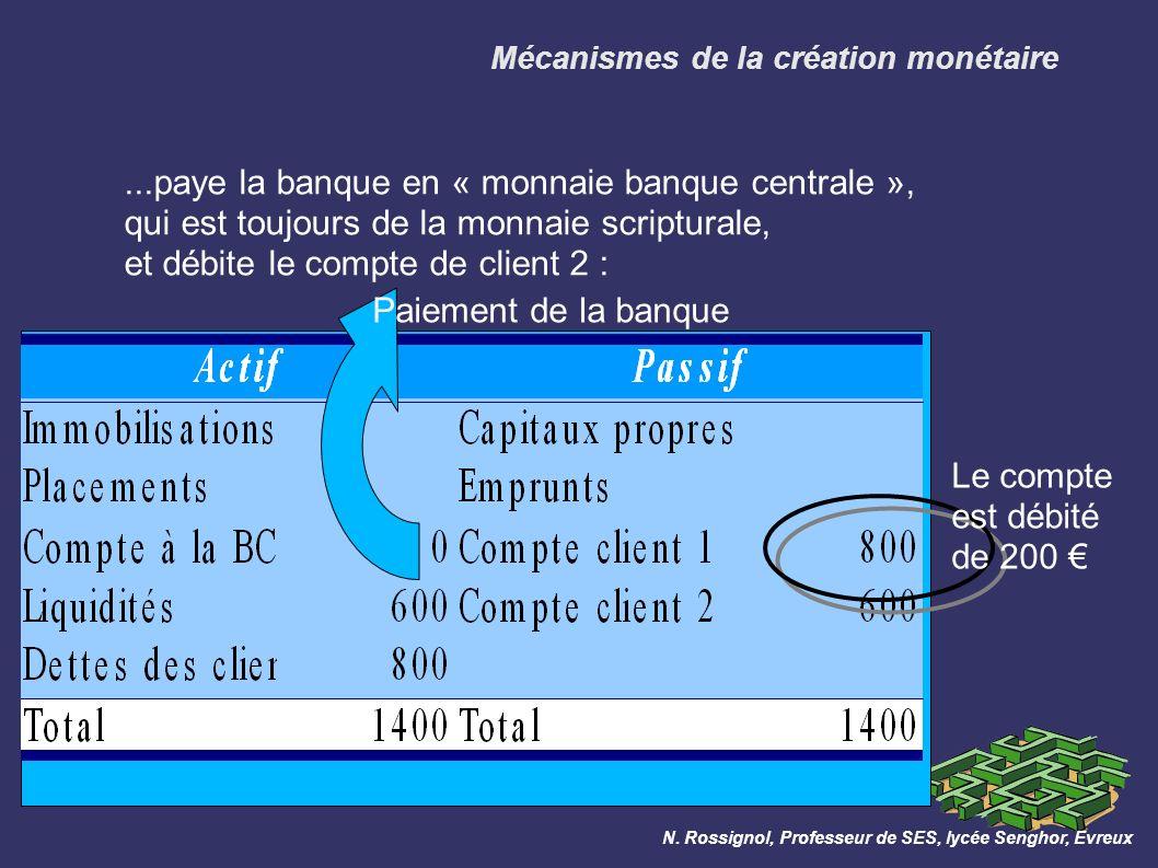 Mécanismes de la création monétaire...paye la banque en « monnaie banque centrale », qui est toujours de la monnaie scripturale, et débite le compte de client 2 : N.