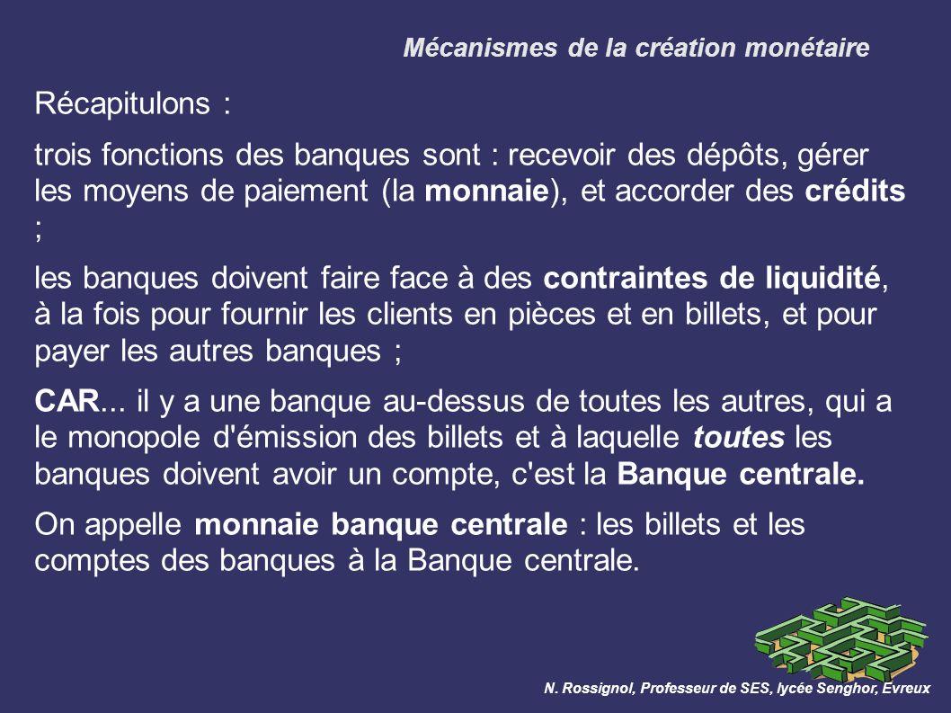 Mécanismes de la création monétaire N.