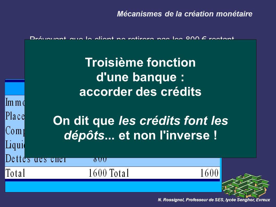 Mécanismes de la création monétaire Prévoyant que le client ne retirera pas les 800 restant, la banque les prête à un second client, et lui ouvre un compte à cet effet : N.