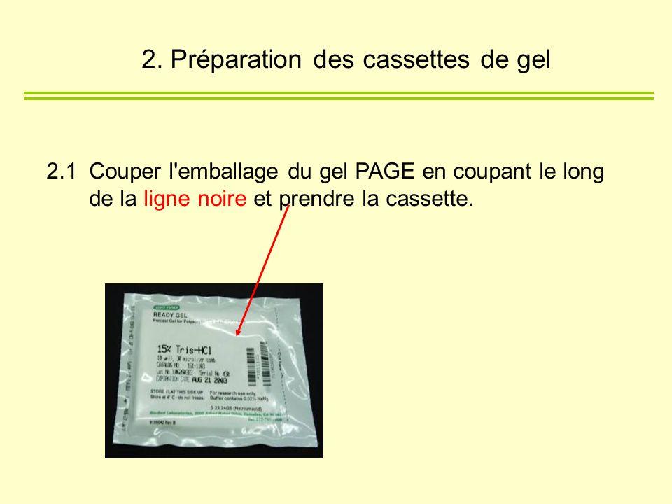 2. Préparation des cassettes de gel 2.1Couper l'emballage du gel PAGE en coupant le long de la ligne noire et prendre la cassette.