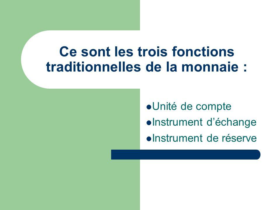 Ce sont les trois fonctions traditionnelles de la monnaie : Unité de compte Instrument déchange Instrument de réserve