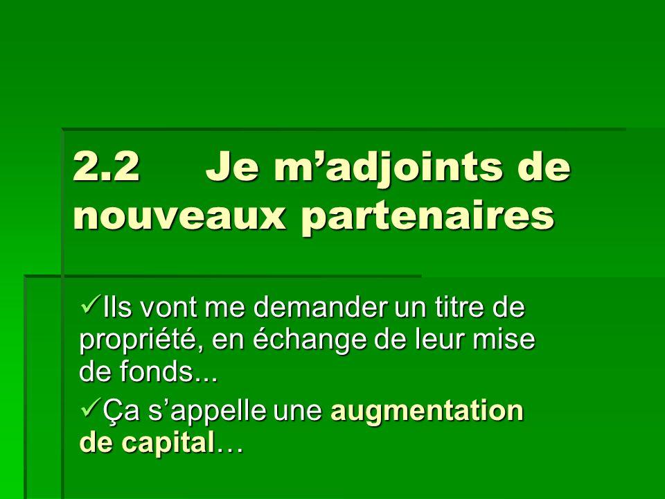 2.2Je madjoints de nouveaux partenaires Ils vont me demander un titre de propriété, en échange de leur mise de fonds...