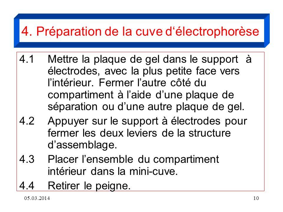 05.03.201410 4. Préparation de la cuve délectrophorèse 4.1 Mettre la plaque de gel dans le support à électrodes, avec la plus petite face vers lintéri