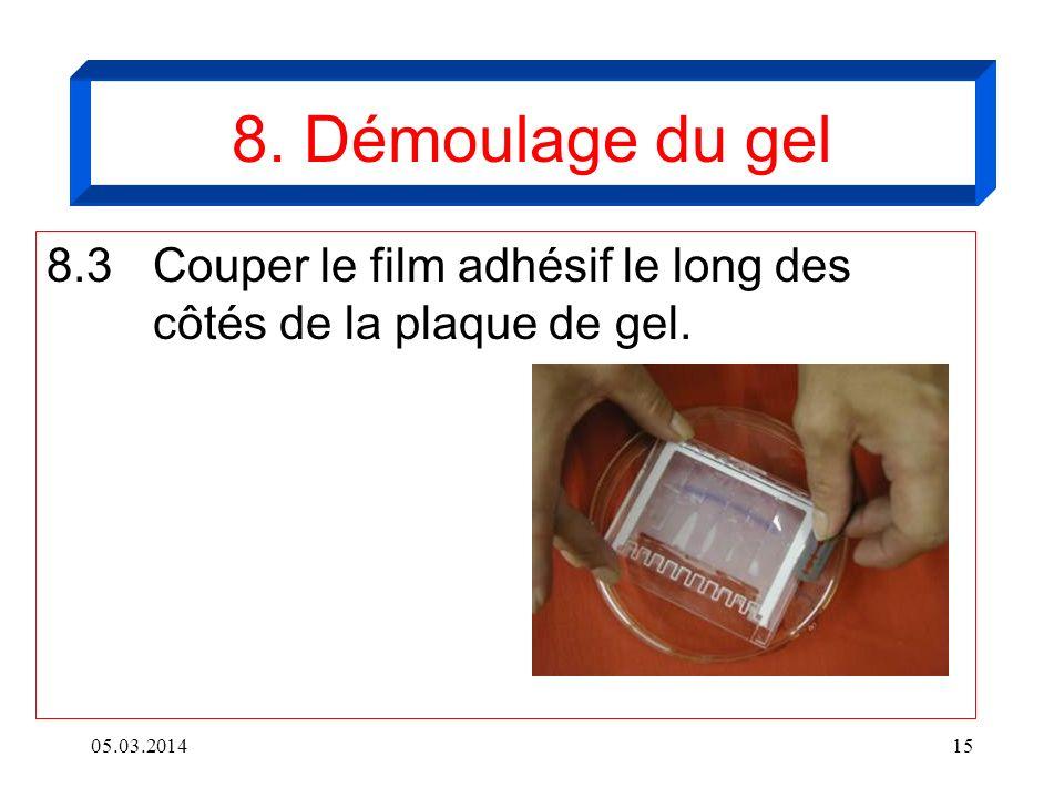 05.03.201415 8. Démoulage du gel 8.3Couper le film adhésif le long des côtés de la plaque de gel.